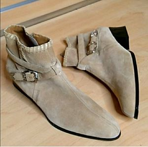 Vintage cream suede western buckle ankle boots
